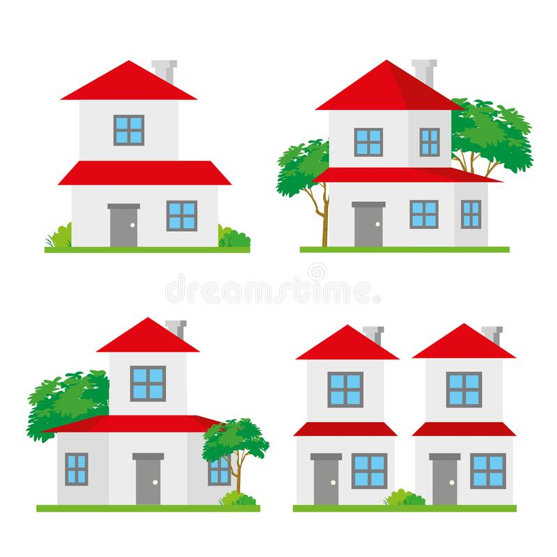 House Home Family Neighborhood City Building Address Architecture Vector. Design royalty free illustration