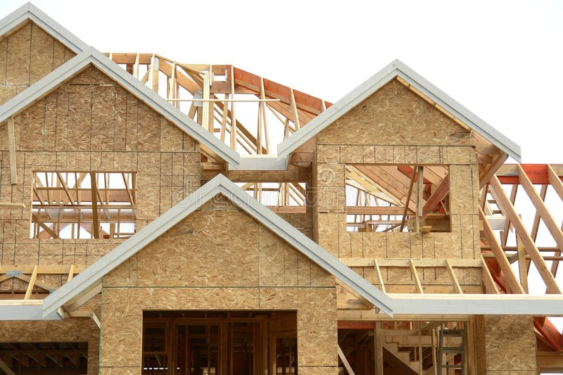 House Home New Framing. House framing details on a new home under construction royalty free stock photos