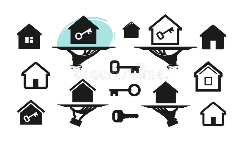 House, home set icons. Building, real estate, key symbol. Vector illustration stock illustration