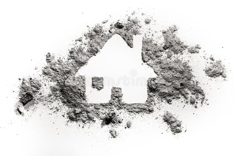 House or home silhouette drawing in ash or dust. As natural disaster, fire catastrophe, terrorist attack or war damage concept, accident insurance, fear and royalty free stock photo