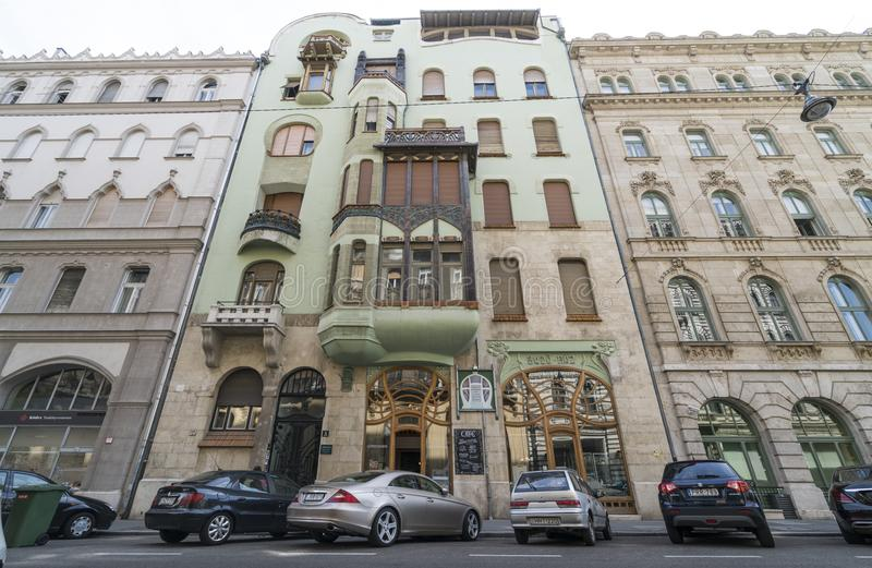 House of Hungarian Art Nouveau in Budapest. View of the facade of House of Hungarian Art Nouveau in Budapest, Hungary stock photo