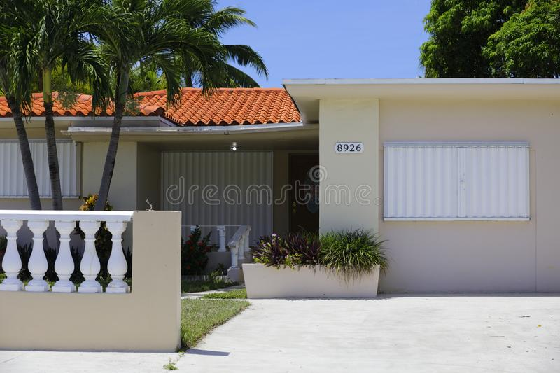 House with hurricane shutters. Image of a home with shutters for Hurricane Irma stock photo