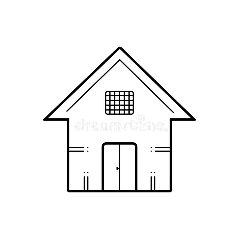Black line icon for House, town and dwelling. Black line icon for House, town, dwelling, premises, logo and residance stock illustration