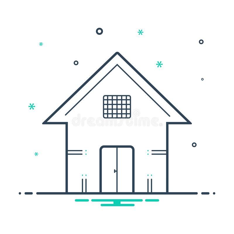 Black mix icon for House, premises and dwelling. Black mix icon for House, residance, town, logo,  premises and dwelling vector illustration