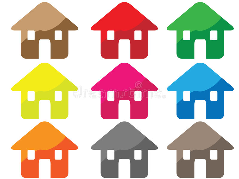 House icon. Nine different colors at house icon. Eps8, vector, easy resizing or change colors