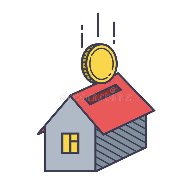 House icon and coin vector illustration