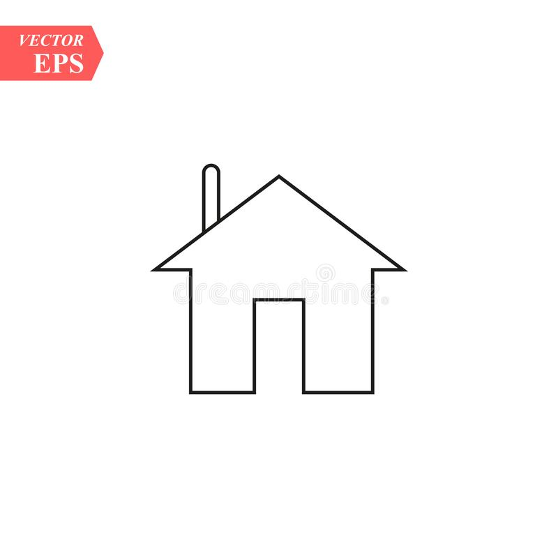 House icon with door, outline design vector royalty free illustration