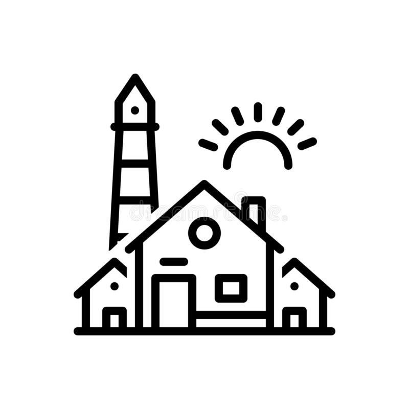 Black line icon for House, home and dwelling. Black line icon for  House, premises, vicarage, residence, habitation,  home and dwelling royalty free illustration