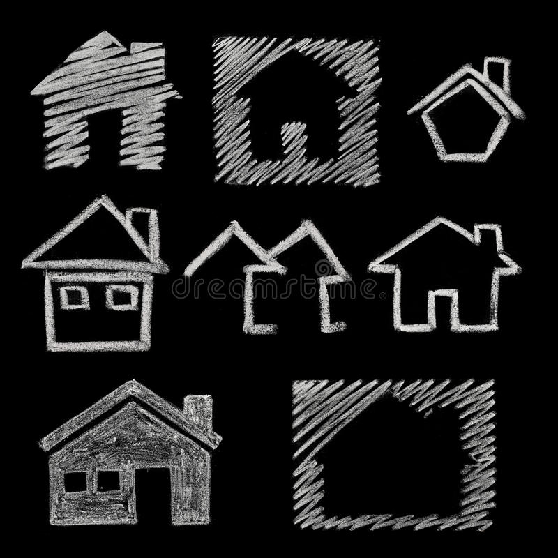 Free House Icon On Blackboard Royalty Free Stock Photography - 19789367