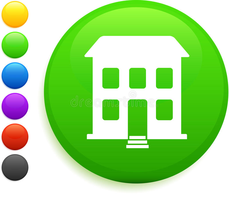 Download House Icon On Round Internet Button Stock Illustration - Illustration: 12583457