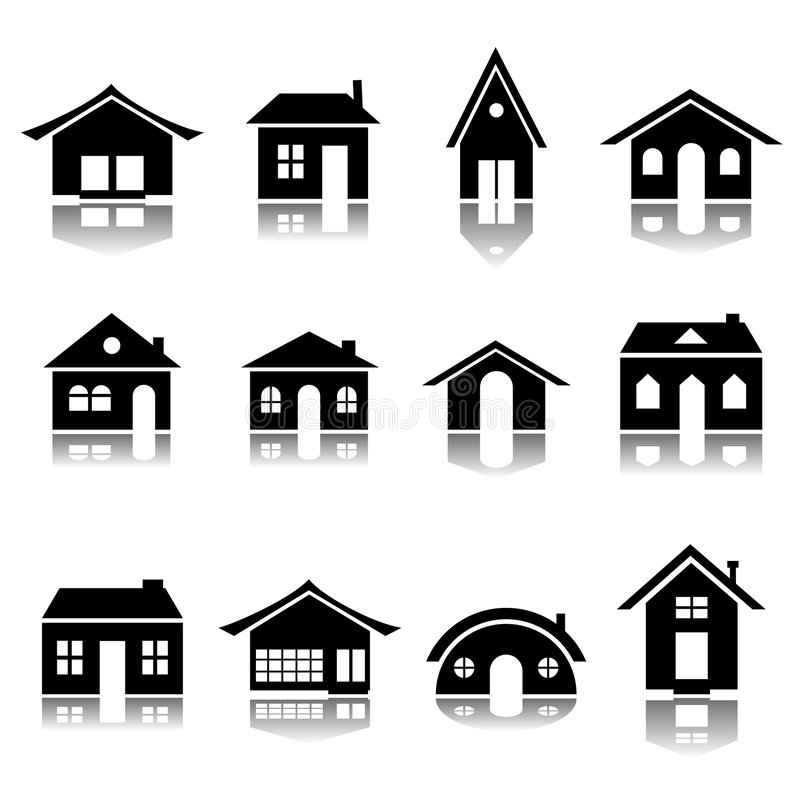 House icon set. In bÅŸack and white