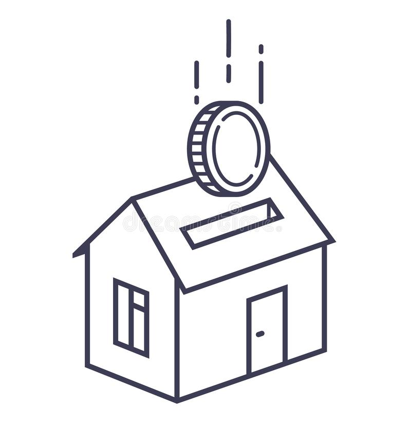 House icon with a slot like a piggy bank with a coin falling into it. stock illustration