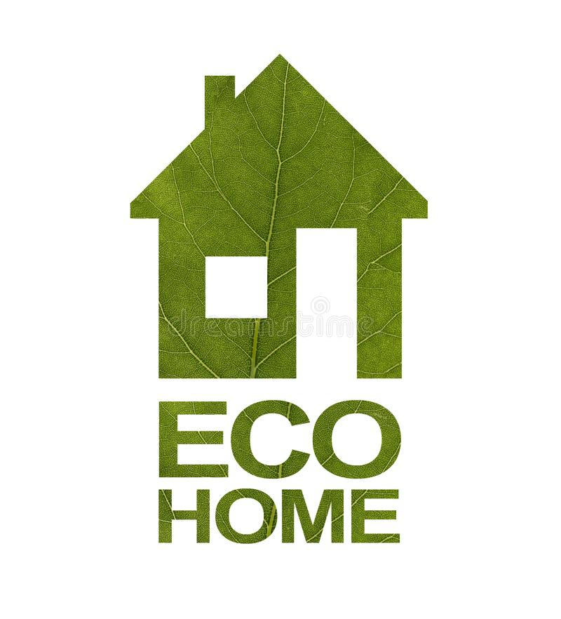 House icon on a white isolated background from a green leaf. The inscription ECO HOME. Close-up royalty free stock images
