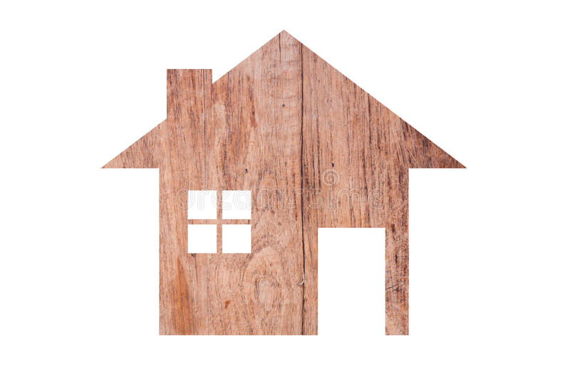 House icon from wooden texture isolated on white. Background stock image