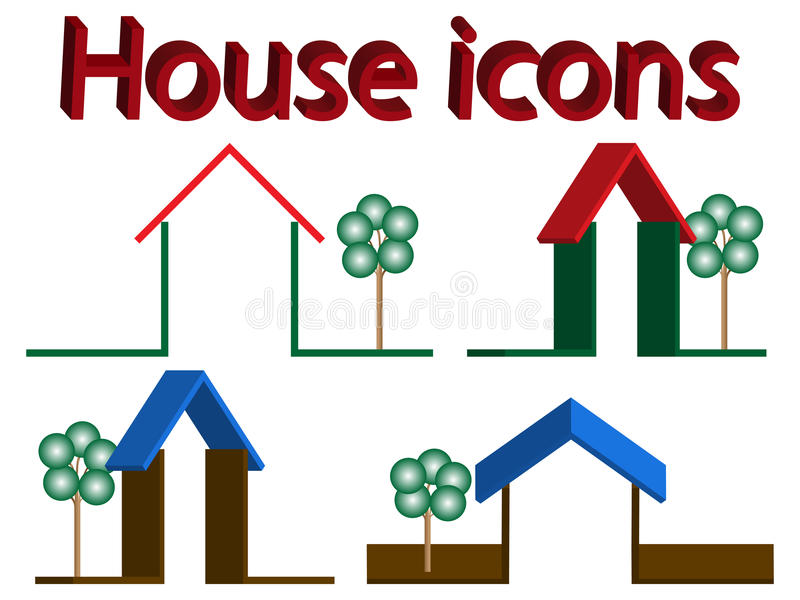 Download House icons stock vector. Image of rent, roof, building - 22774467