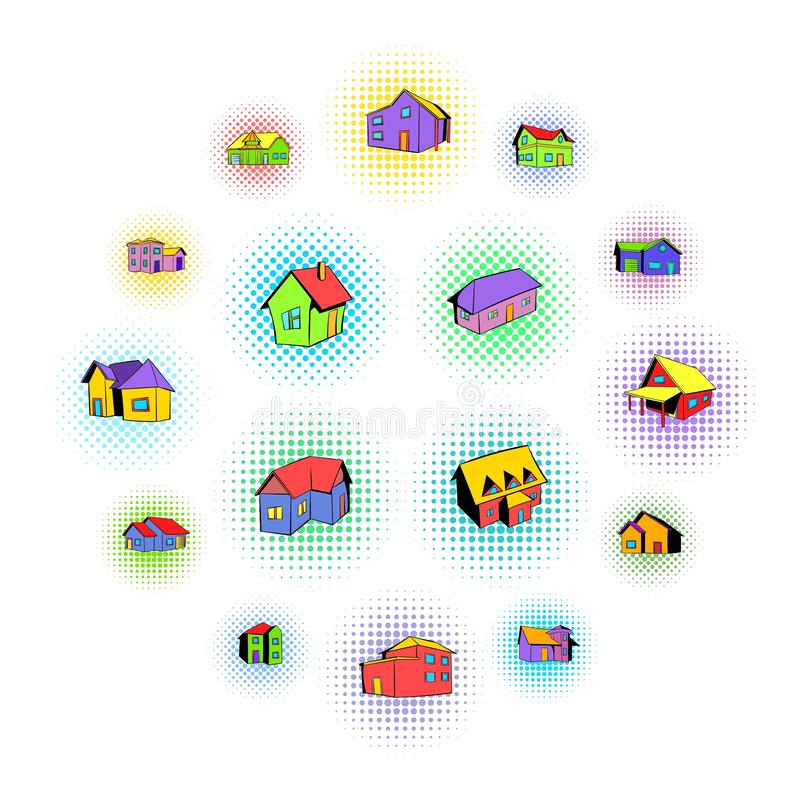 House icons set, comics style. House icons set in comics style on a white background vector illustration