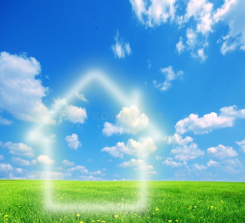 House imagination on green land royalty free stock image