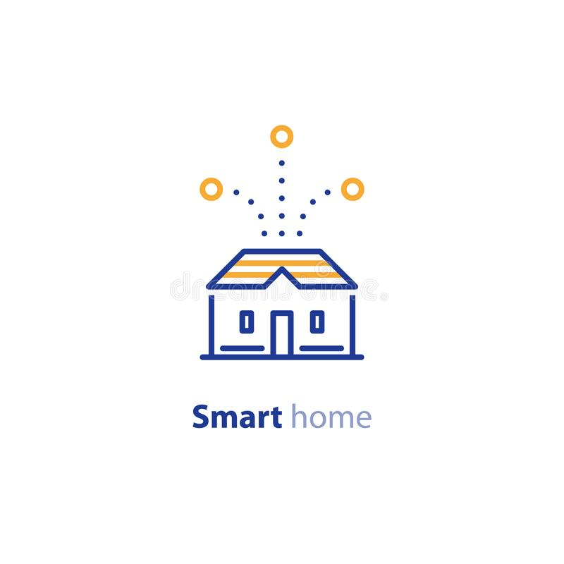 House improvement, smart home concept, control system icon. Smart home systems, house control concept, improvement solution, vector line icon royalty free illustration
