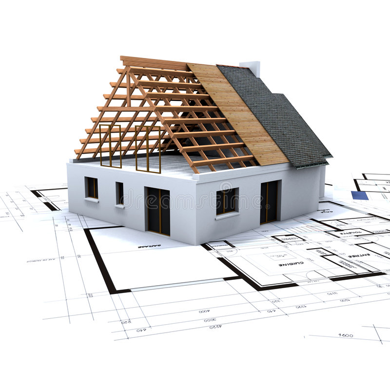 Free House In Construction And Blue Stock Image - 3361311
