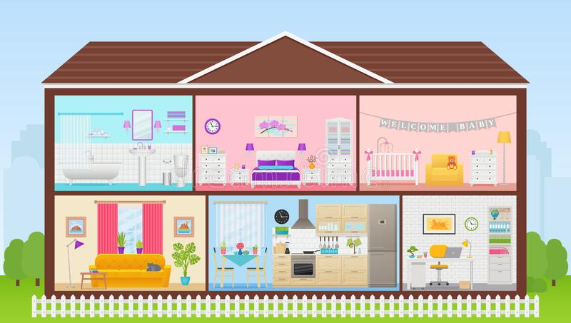 House inside with rooms interiors. Vector illustration in flat design royalty free illustration