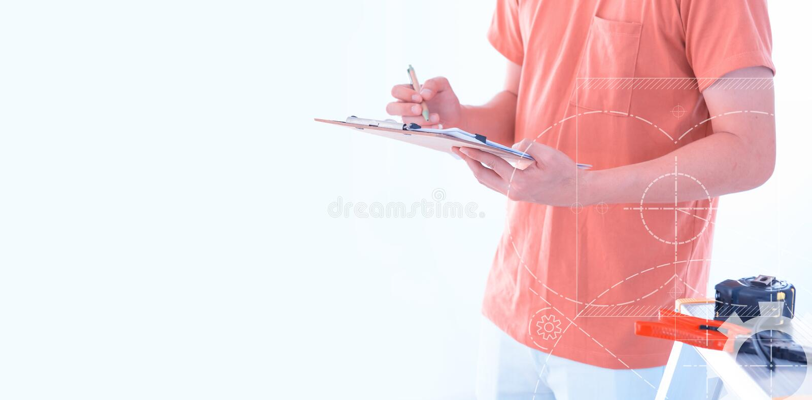 House inspection. Home improvement and house repair. Carry tools and clipboard. isolated on white background stock images