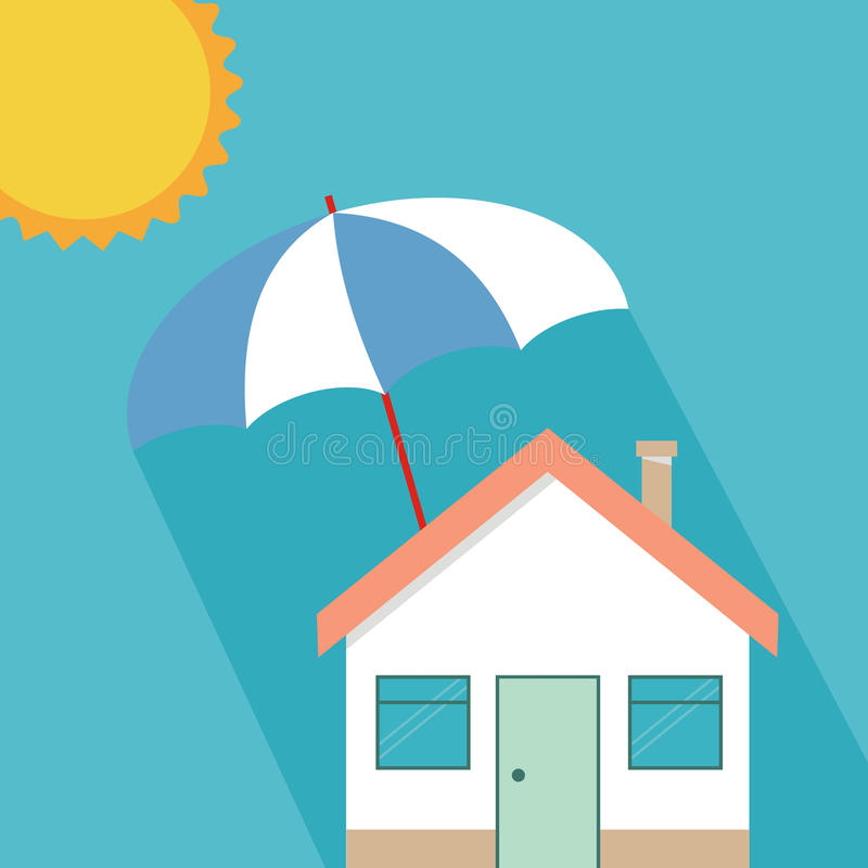 House insurance concept, residential home real estate protection royalty free illustration