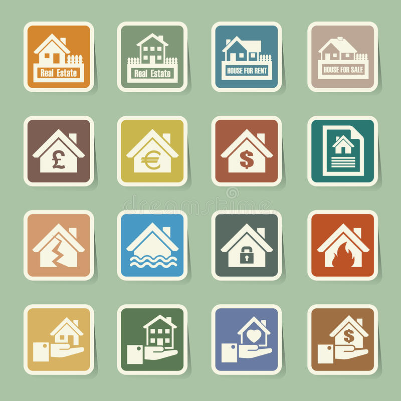 Download House insurance icons Set. stock vector. Image of icon - 35095183