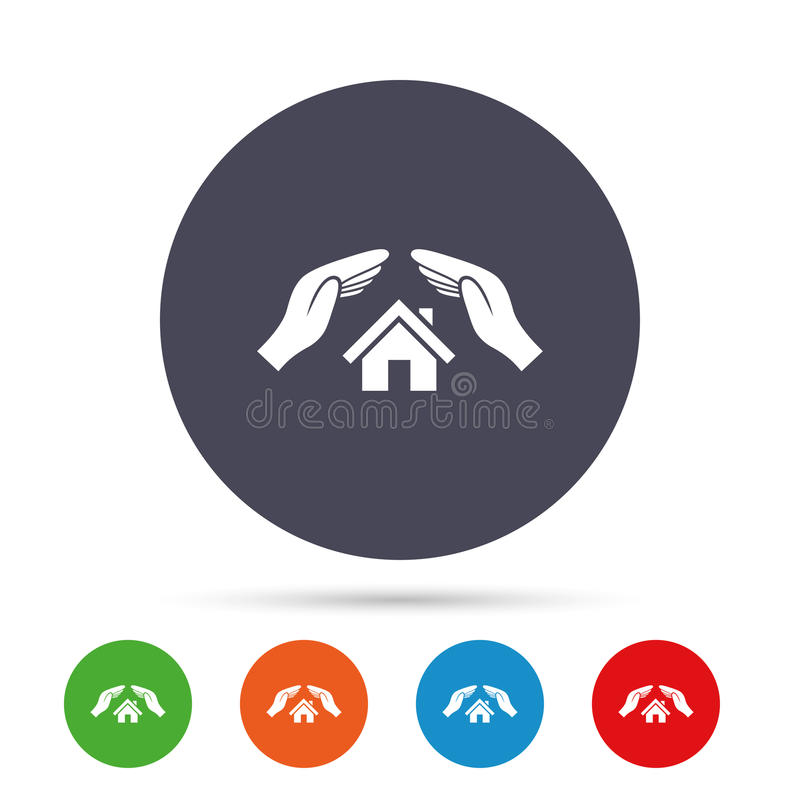 House insurance sign icon. Hands protect cover. House insurance sign icon. Hands protect cover symbol. Insurance of property. Round colourful buttons with flat royalty free illustration