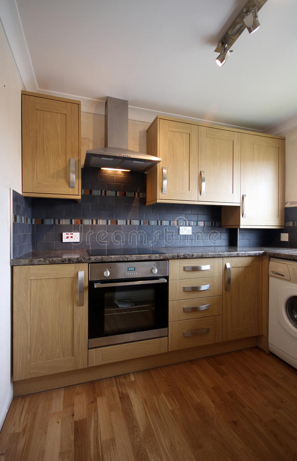 House Interior � Kitchen. House Interior � Angled view of Beech Kitchen in UK home stock photos