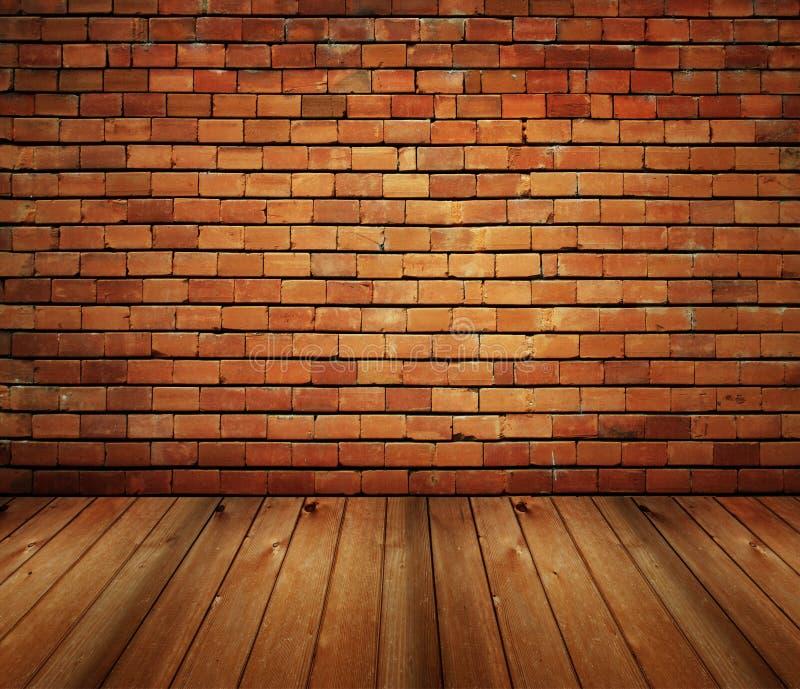 House interior brick and wood grunge texture stock image