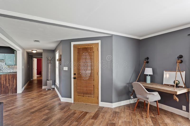 House Interior Foyer Entrance Area Wooden Door Hardwood Floors Contemporary Modern Design stock images
