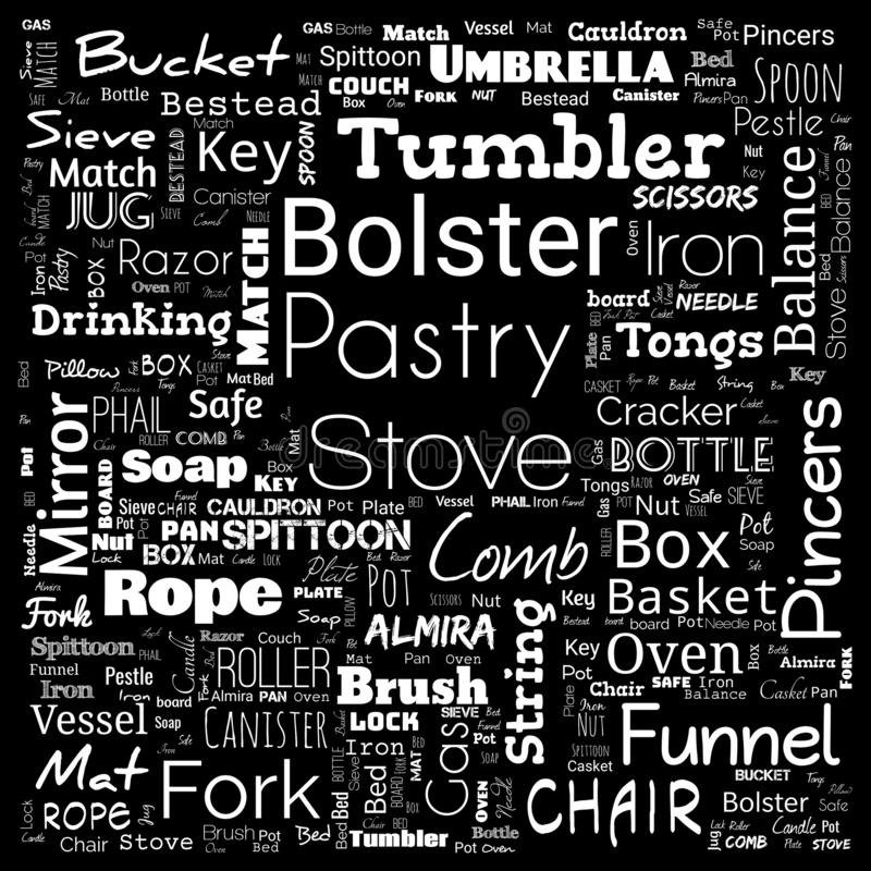 House interior items word cloud, word cloud use for banner, painting, motivation, web-page, website background, t-shirt & shirt. Printing, poster, gritting stock photos