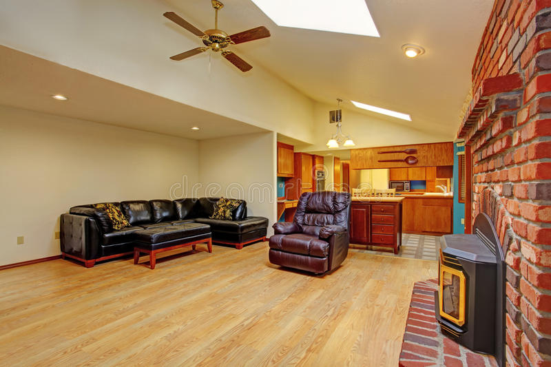 House interior. Living room and kitchen area stock images