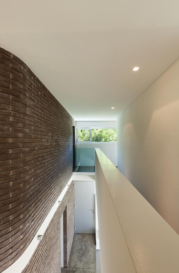 A Home That S Modern Inside And Out: House Interior, Passage View Stock Photo