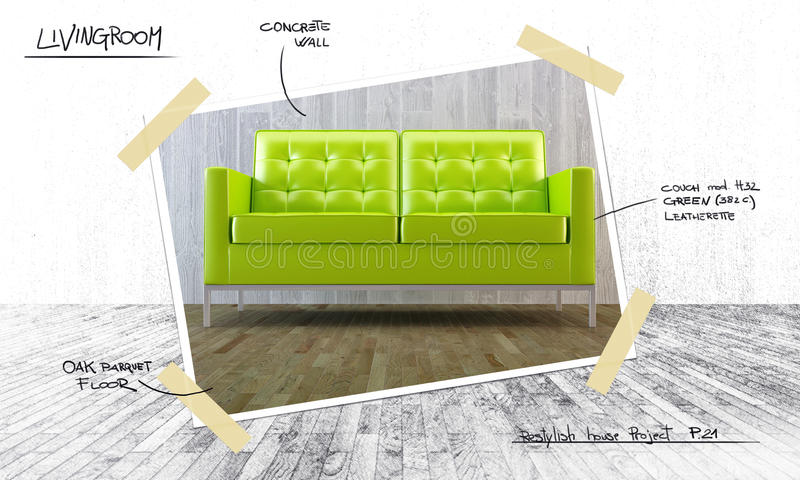 Download House interior project stock illustration. Image of leather - 25387926