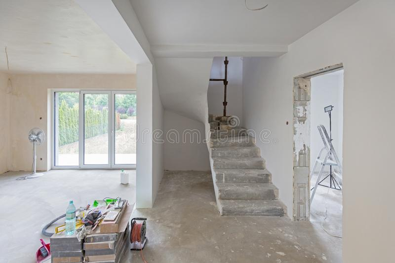 House interior at renovation royalty free stock image