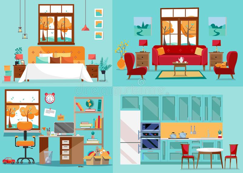 House interior 4 rooms. Inside front views of kitchen, living room, bedroom, nursery. Furnishing interior home rooms. Interior stock illustration