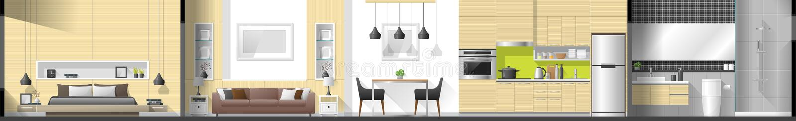 House interior section panorama including bedroom , living room , dining room , kitchen and bathroom stock illustration