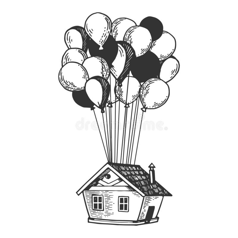 Free House Is Flying On Air Balloons Engraving Vector Stock Photography - 131049332