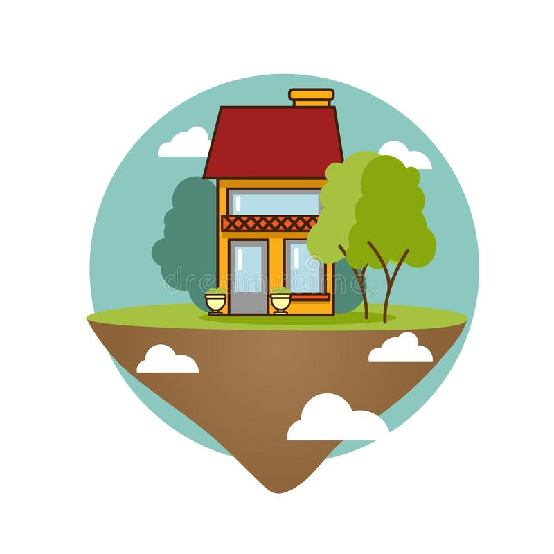 House on island flying among clouds on sky concept illustration. Flat style icon. vector illustration