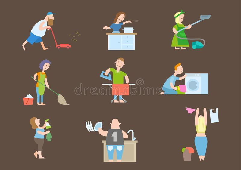 House keeping tiny people stock illustration