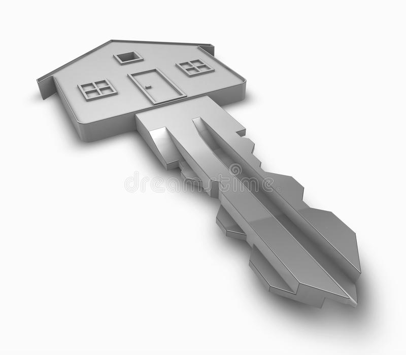 House key. 3d rendering of a house key royalty free illustration