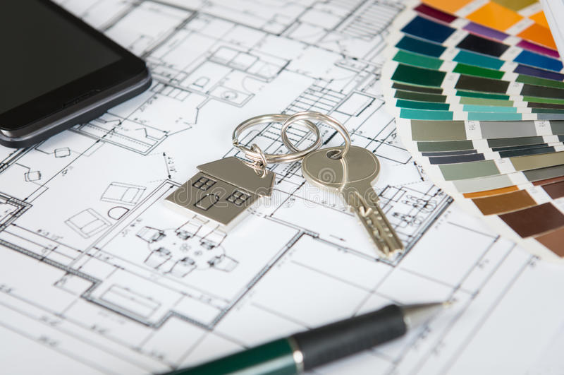 House Key On Blueprint royalty free stock photo