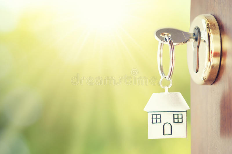 House key. In the door royalty free stock photo