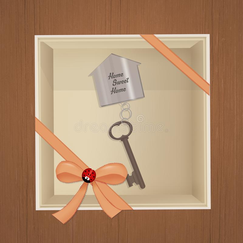 House key in the gift box royalty free illustration