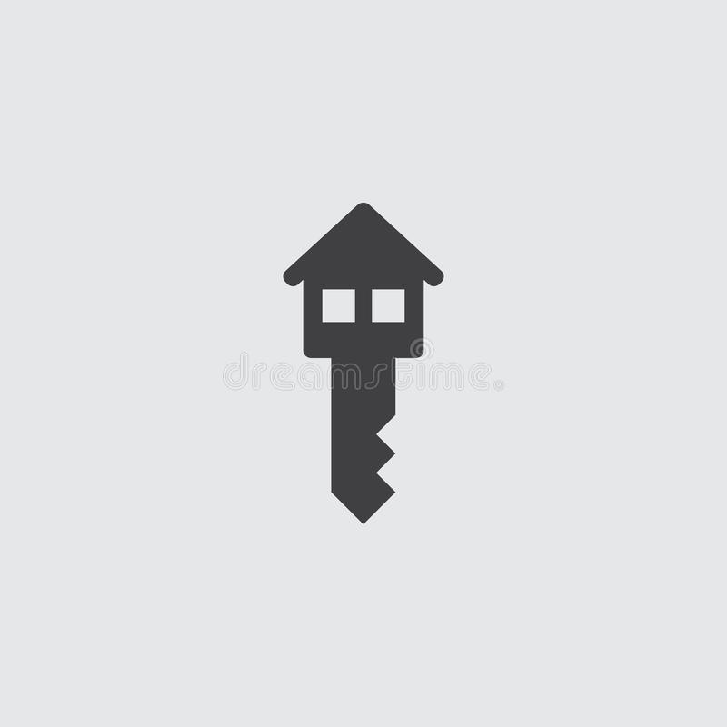 House key icon in a flat design in black color. Vector illustration eps10 stock illustration