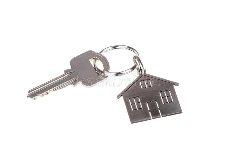 House key and Keychain isolated on white. Background royalty free stock images