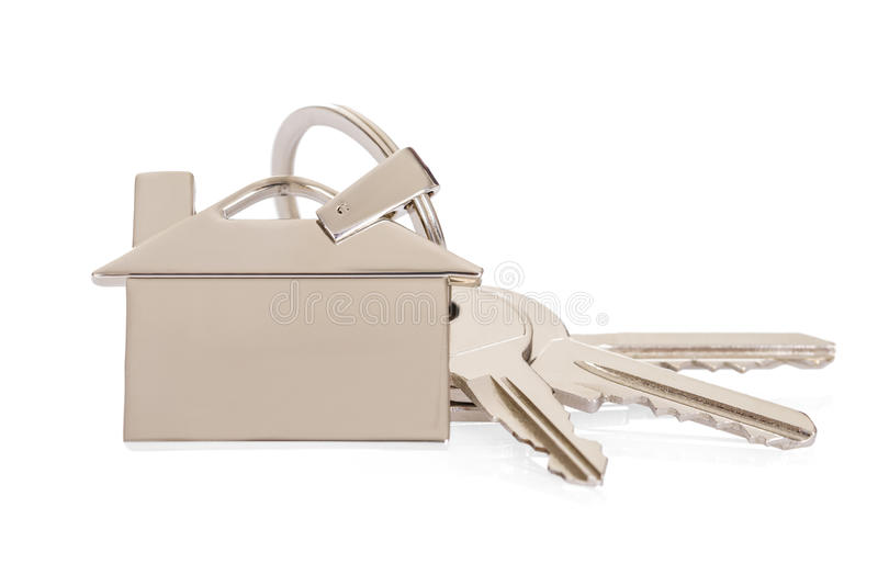 House Key With Keychain. Over White Background royalty free stock images