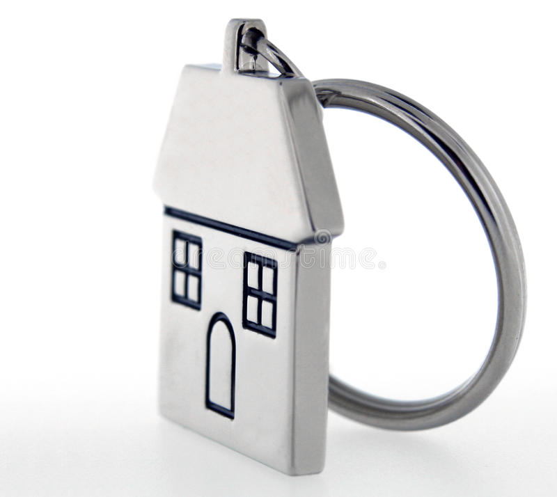 House key ring. Stainless steal house key ring stock photography