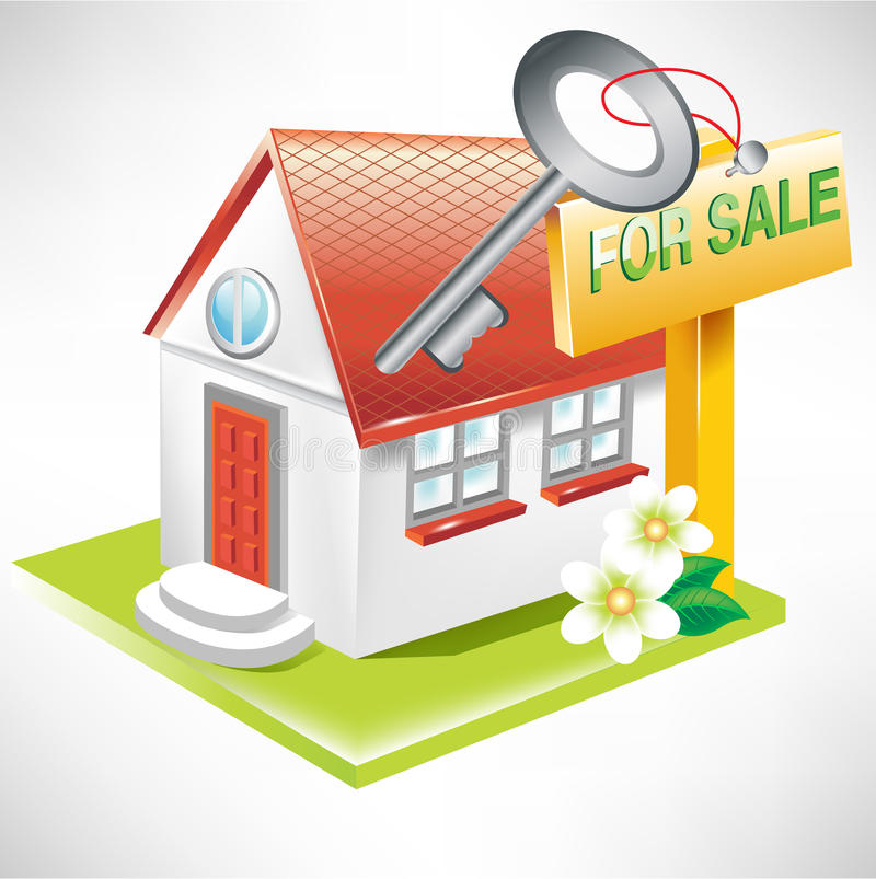 House with key and for sale sign vector illustration